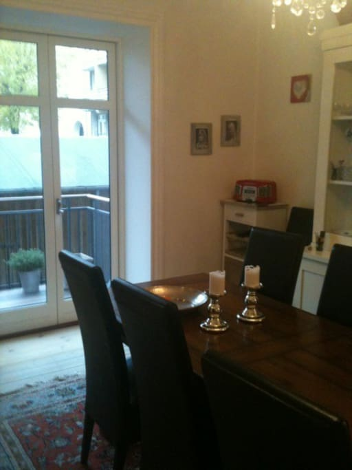 Dining table and a wieu at the balcony