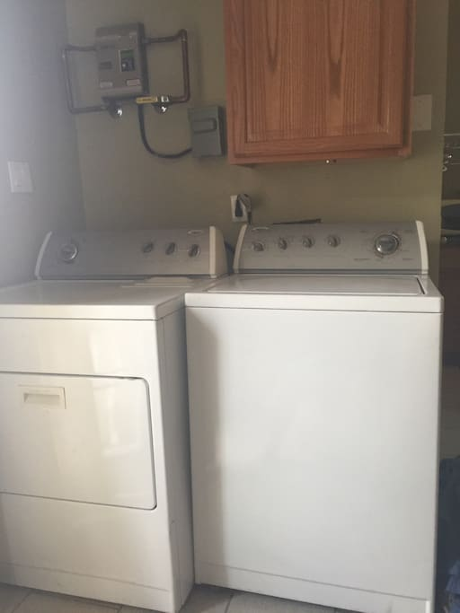 Washer dryer and laundry detergent, stain spray, dryer sheets, clorox all provided.