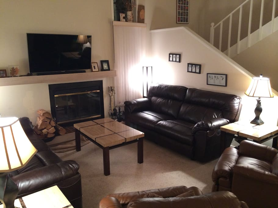Cozy relaxing oversized recliners and huge TV