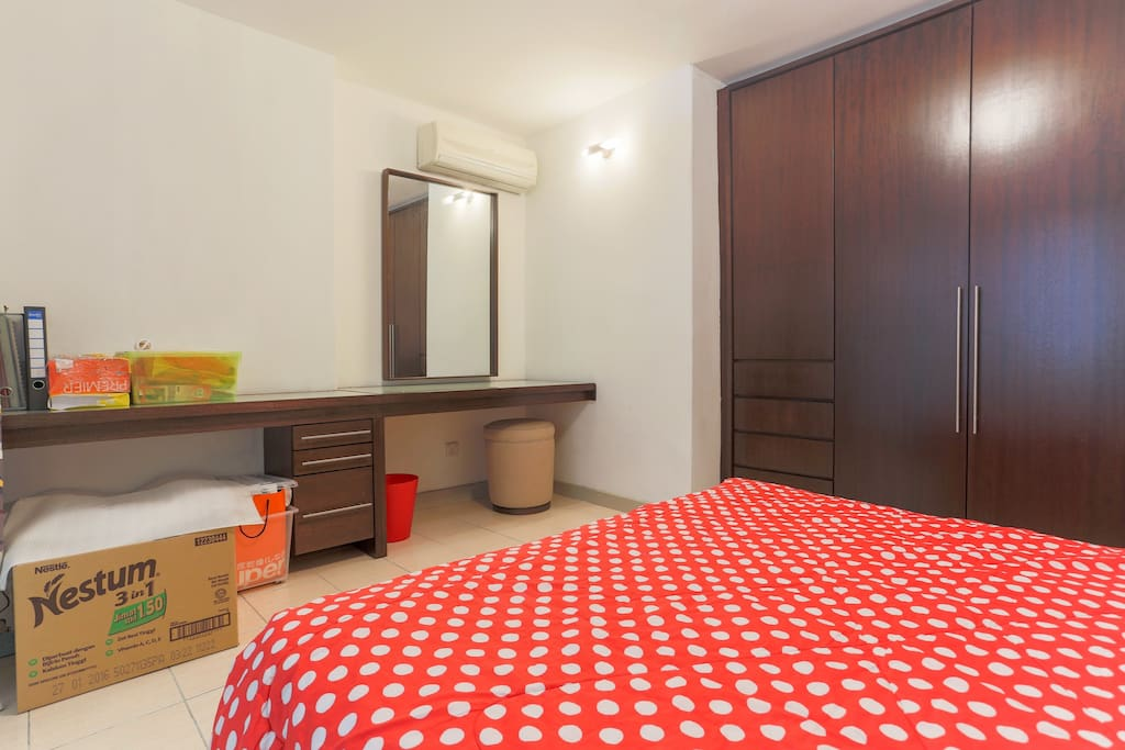 This will be your room.  An additional, comfortable mattress can be laid on the floor to fit another person, upon request. Hence, the room can fit 3 persons comfortably. For more than 3 persons, please contact me first before booking.
