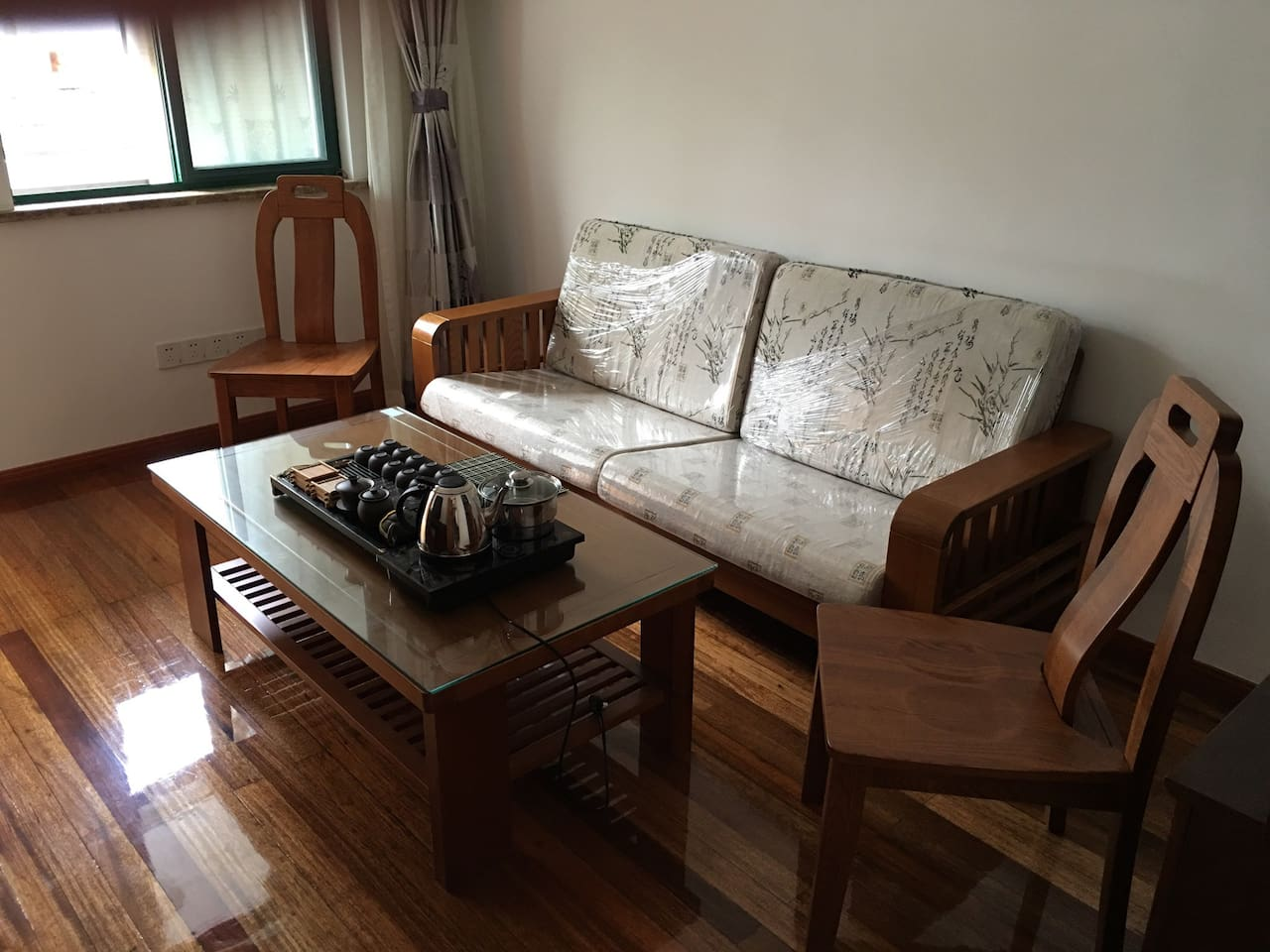 Here is living room and additional sleep room. If guests is over two peoples, I will take this sofa to one sofa bed.