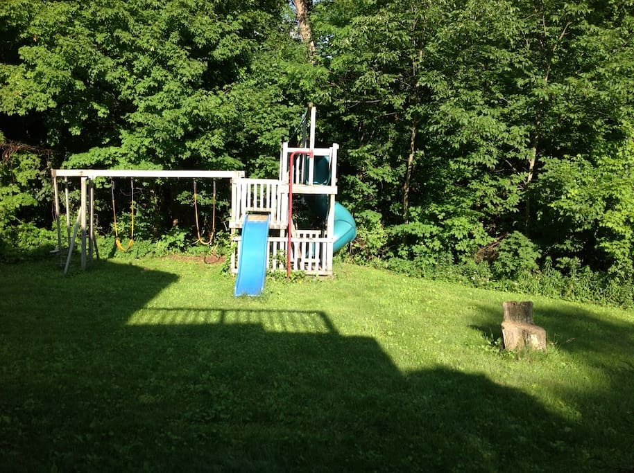 Side lawn with swings and climbing tower