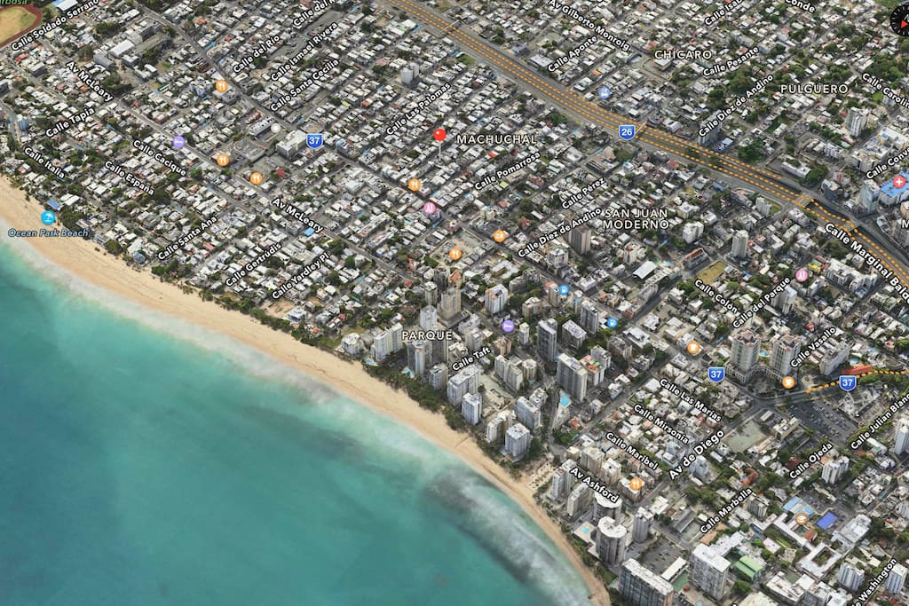 Red pin is the location of the unit. Walk to Ocean Park Beach, and to any of the amazing restaurants on Loiza Street.