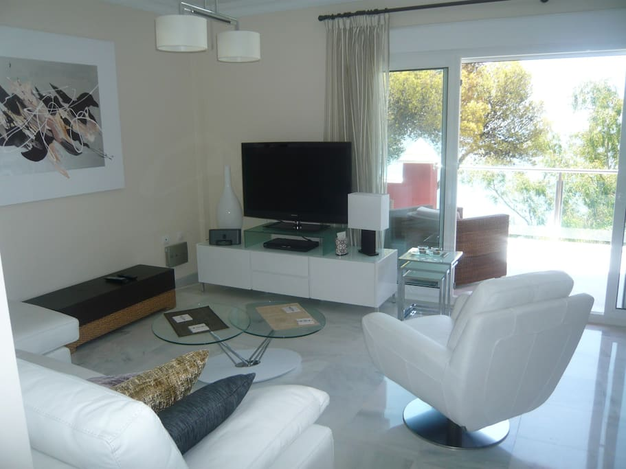 """Living Area with 46"""" TV"""