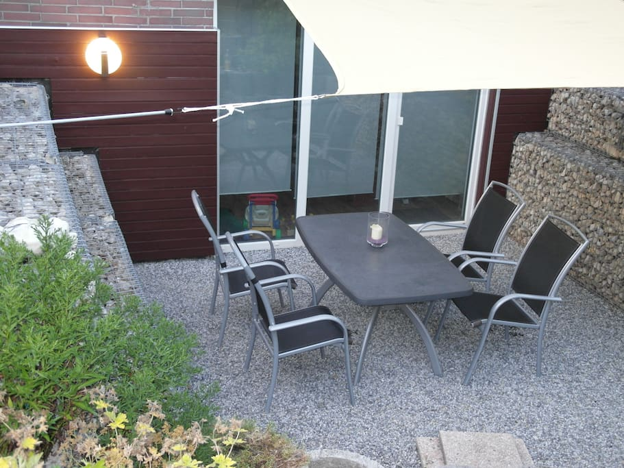 The sunny terrace is for guests use. Enjoy your summernights!