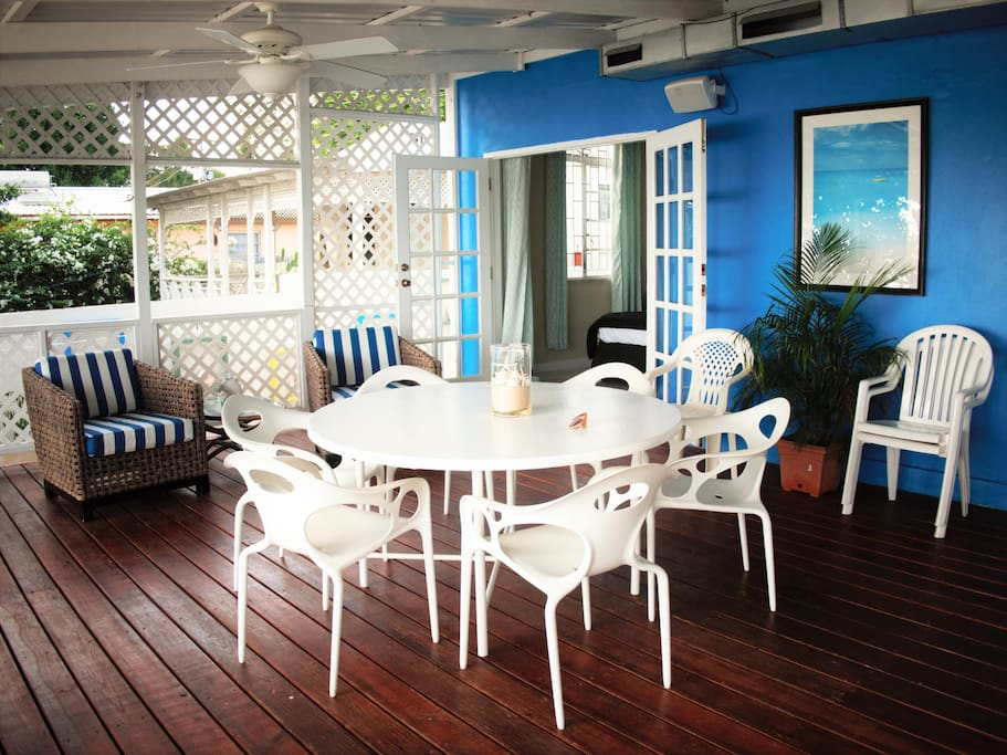 Relax, socialize,eat, lounge on the spacious breezy veranda