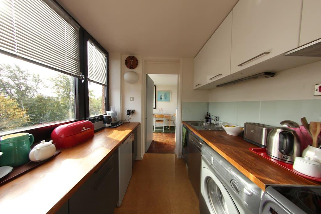 Kitchen, dishwasher and mashing machine, cooker, fridge and small ice box