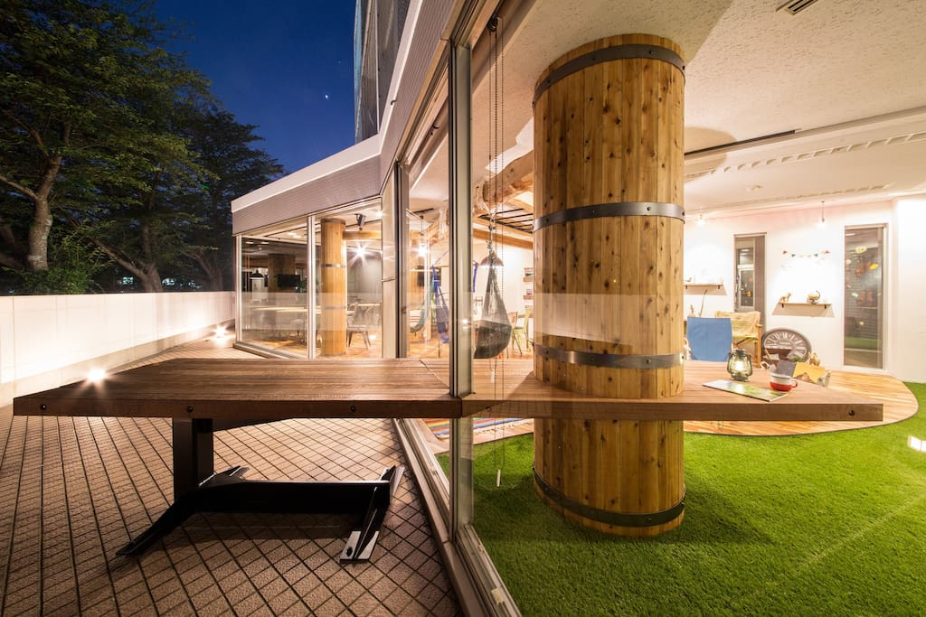 the view of outdoor living from terrace.
