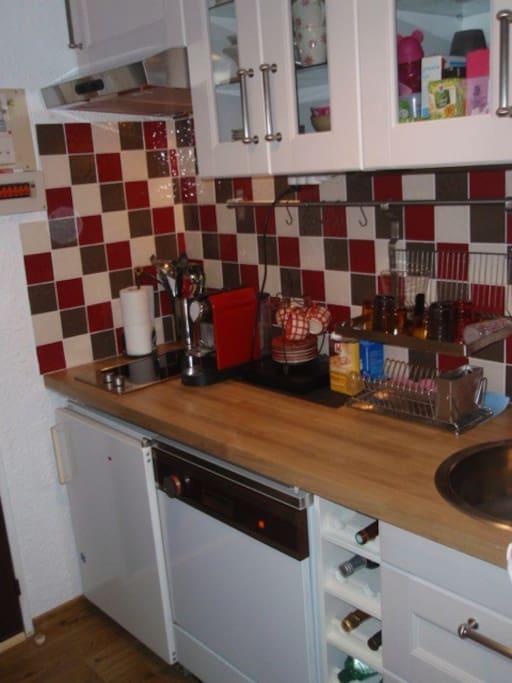 Cuisine équipé frigo congélateur lave linge lave vaisselle four micro onde et combiné