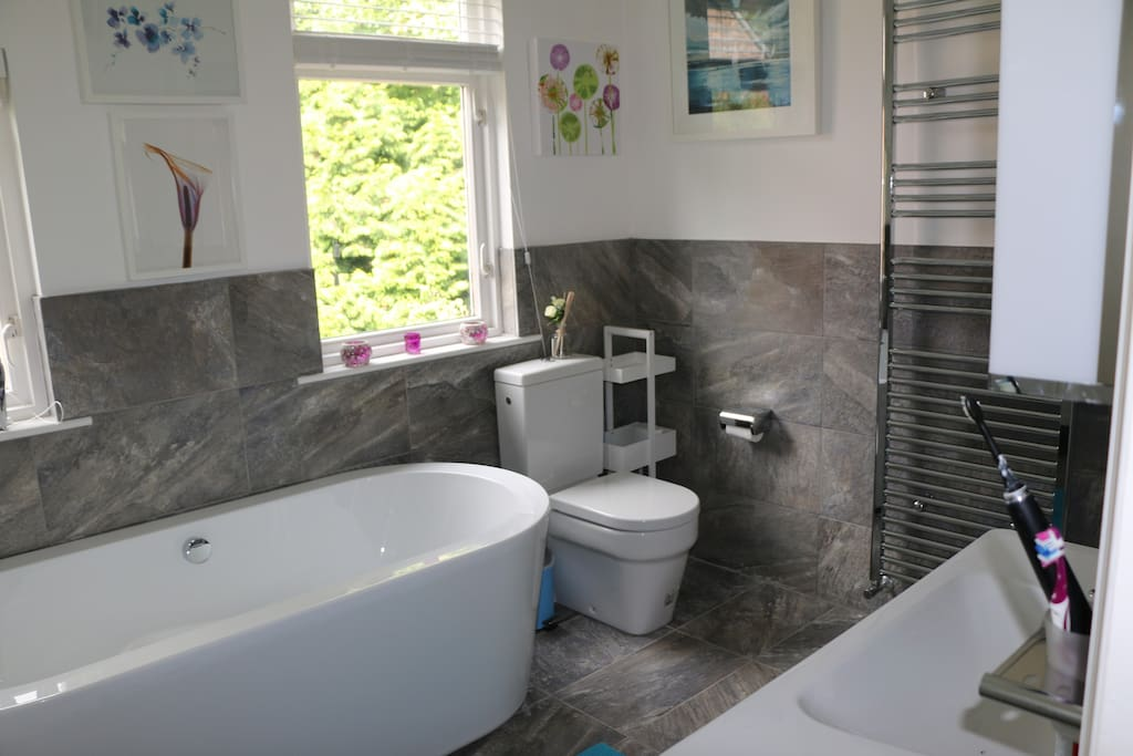 New, large, luxury bathroom with freestanding bath and separate shower
