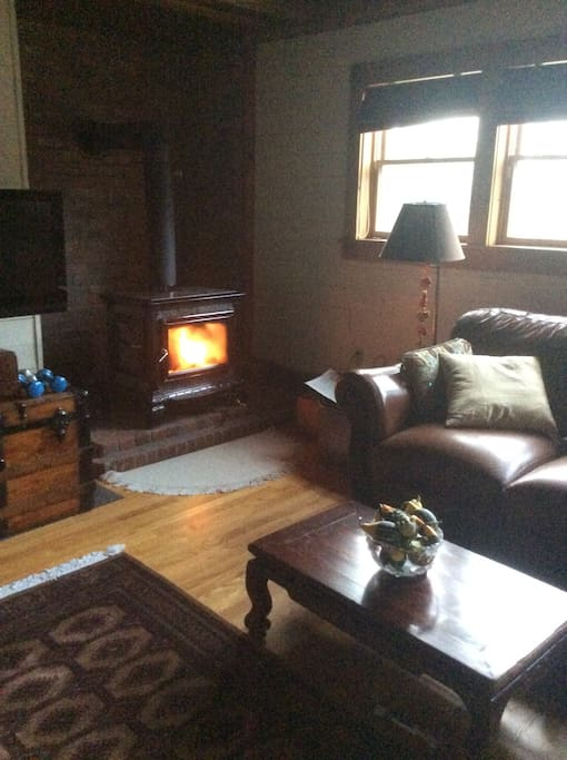Cozy family room with woodstove, television, Google Chrome and Roku with Canadian and major American channels + PBS