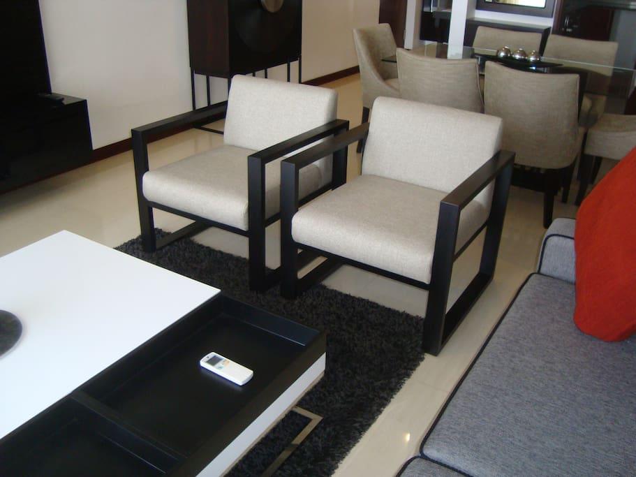 Sitting room with exquisite designer furniture