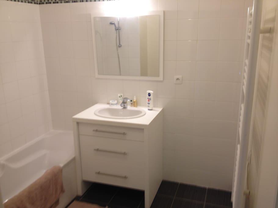 Chambre et salle de bain priv e flats for rent in anglet for Salle de bain translation