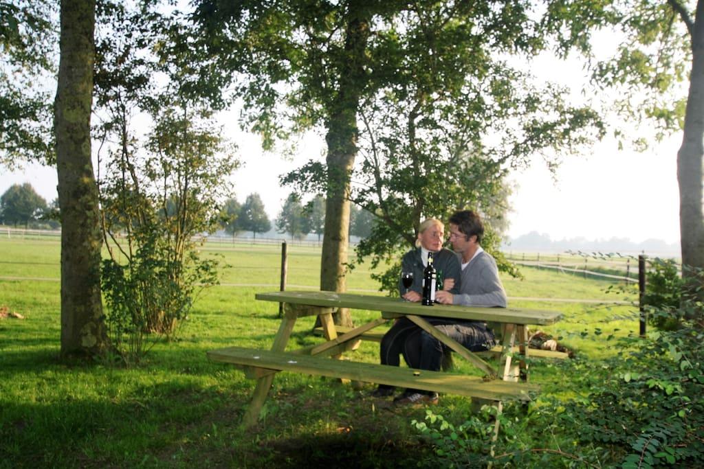 nippend aan een wijntje, aan de picknicktafel , met uitkijk over de weilanden.