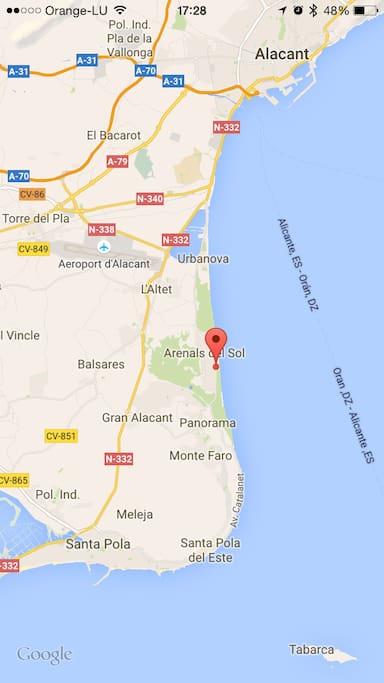 Cerca de Alicante y del aeropuerto