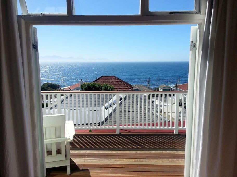 The deck over False Bay - watch the fishing boats come in to the harbour