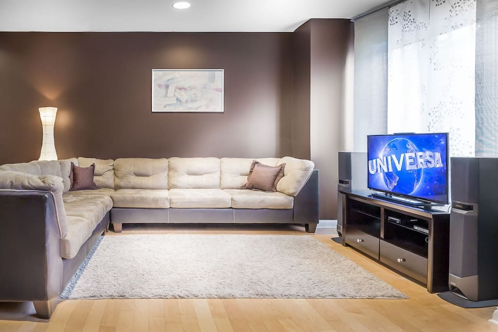 Living Room with large couch.