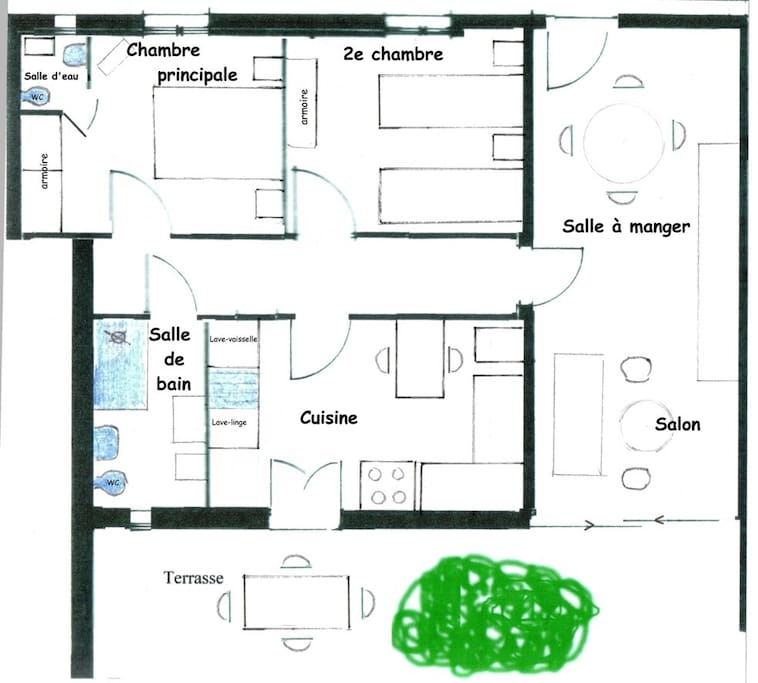 Map of the appartment/ Plan appartement Lavande