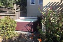 Backyard hot tub.