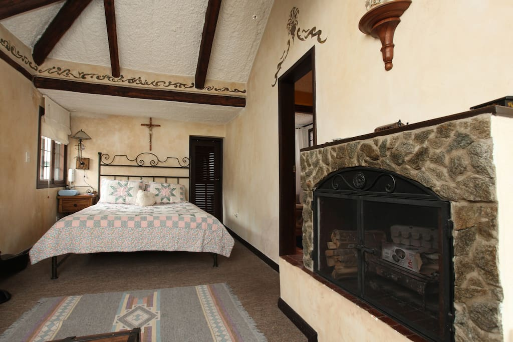 View of the room and working fireplace