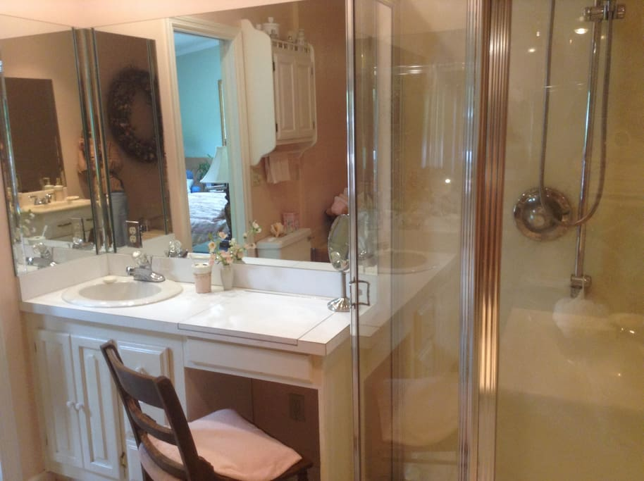 Shower and makeup area in master bathroom.