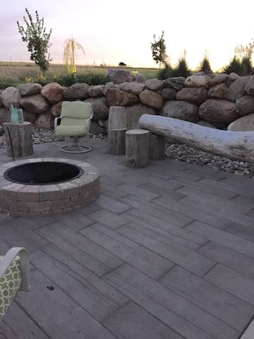 Fire pit by hot tub