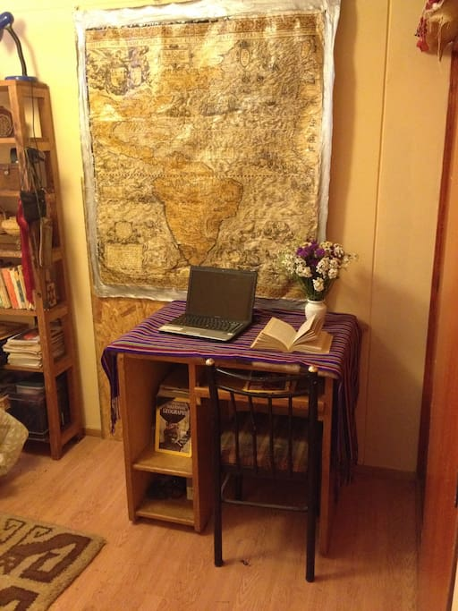 A working space in the studio/room.
