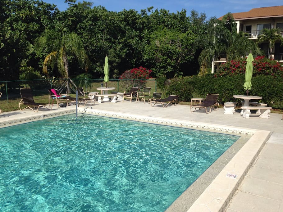 Pool with provided seating, lounge chairs, and tables. It is OK to take rope down for laps - just replace when done. Bathrooms (2) and shower at pool. Please use towels on furniture.
