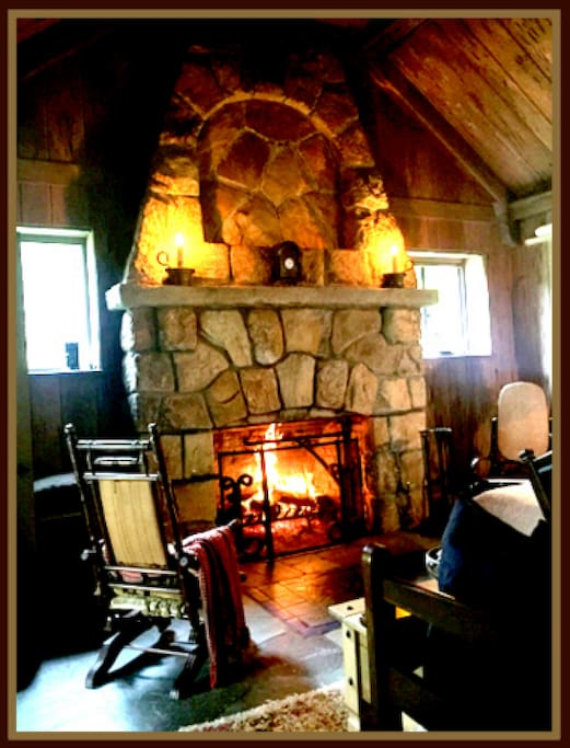 Upper level fireplace