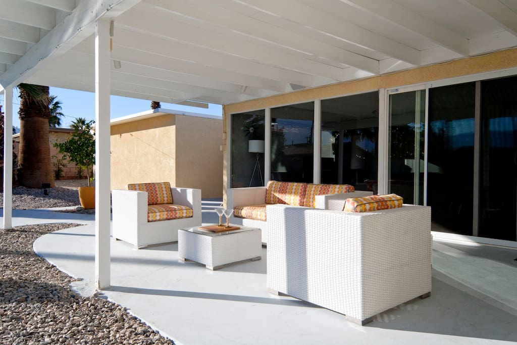 Covered Patio with stylish outdoor seating.