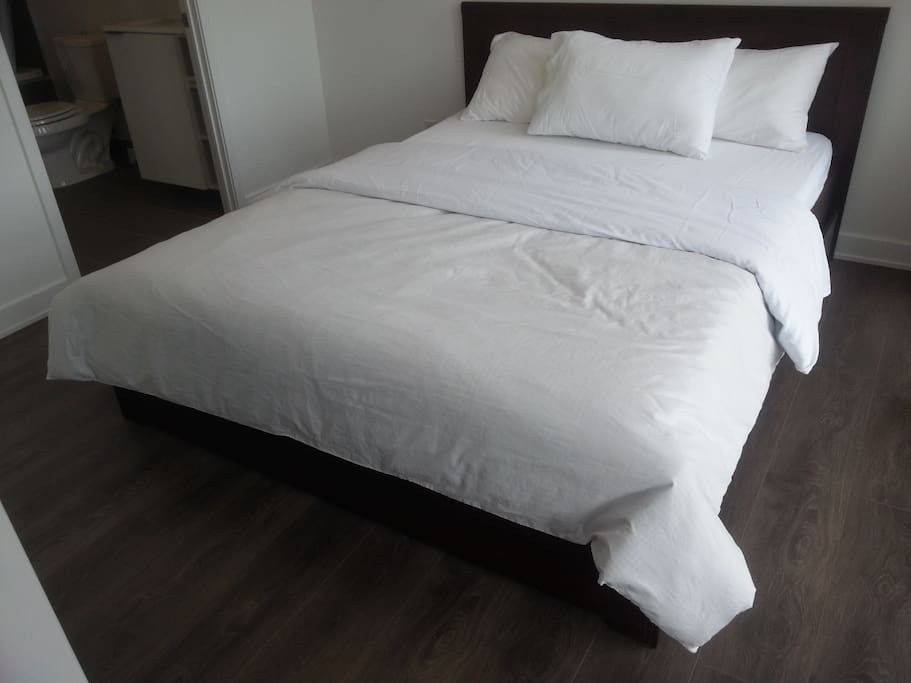 Queen size bed with ensuite full  bathroom (Master Bedroom)