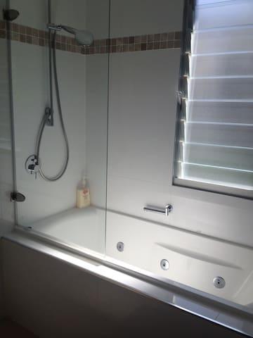 Beautiful spa bath with shower over bath.