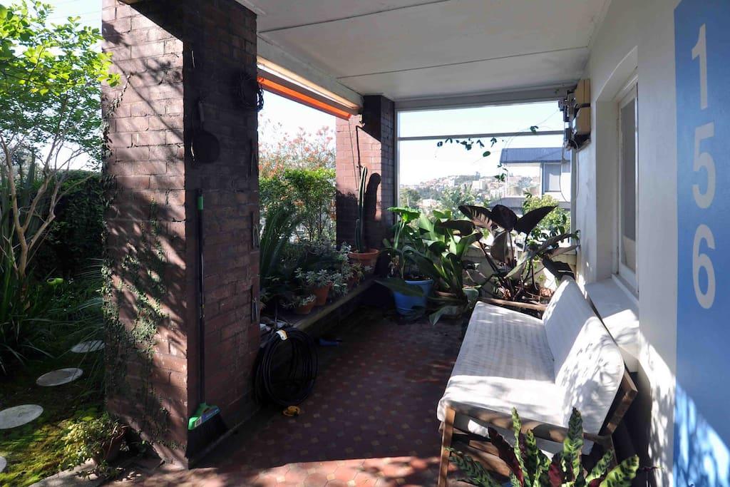 Front veranda, sunny in the morning.