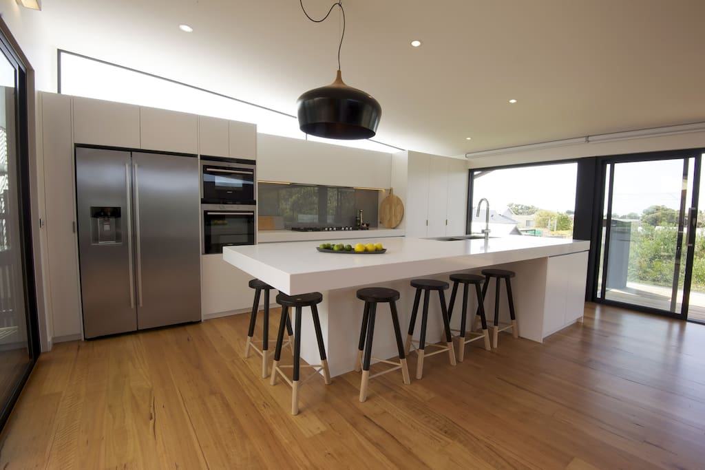 Kitchen with everything you need including Thermomix, steam oven, huge fridge and enormous entertainment benchtop