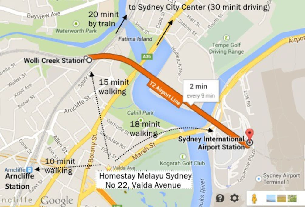 15 minutes walking to Wollie Creek Train Station. 20 minutes by train to Central Station.