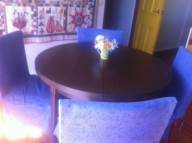 Dining for four, table extends for more