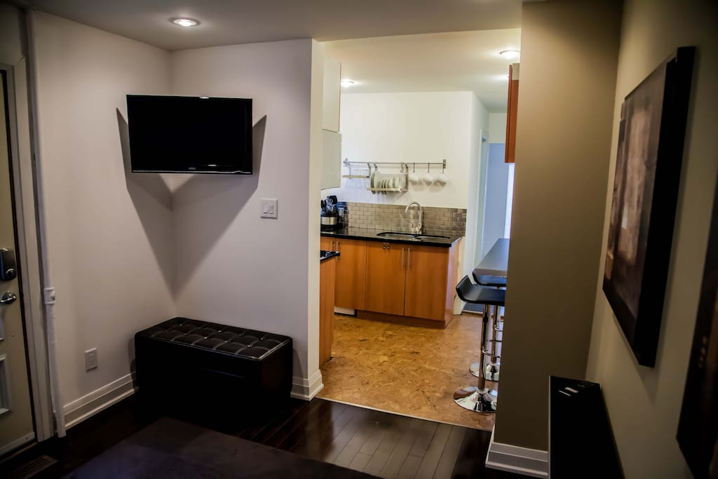 Studio-1  - Living area, flat screen cable TV,  view into Kitchenette