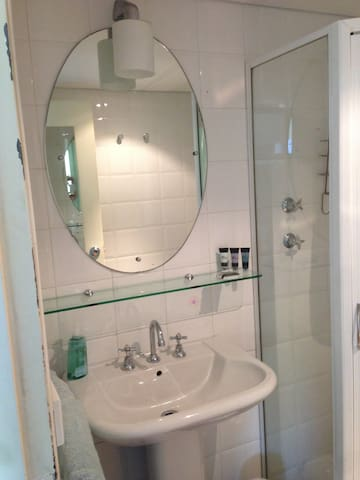 Modern bathroom with toilet and shower