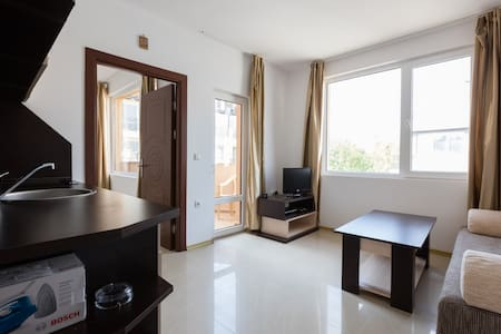 "The apartment of 40 m2 , on the 5th floor balcony, has everything you need for a permanent residence : stove, refrigerator, TV , air conditioning , kitchen utensils and furniture. "" Emerald Paradise "" is located in the central part of the resort ""Sun"