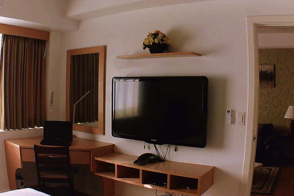 47-inch cable ready TV inside the bedroom, plus a working/study area too/WIFI available