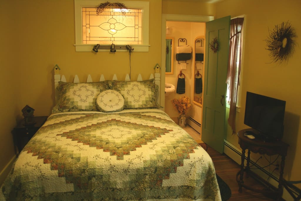 Spring Meadow room. Queen size bed, private bath with stand up show. $155* per night. 2 people.  *11% State & Room tax will be collected at check-in