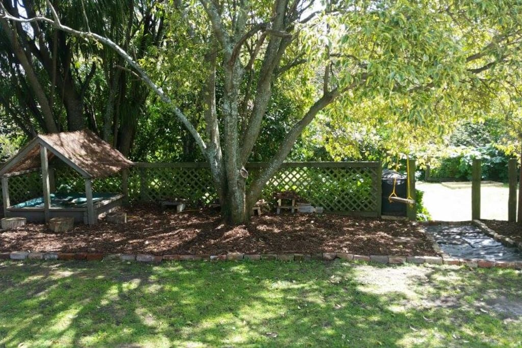 Our back yard. The pathway leads to a big vege garden with organic vegetables which are available to guests.
