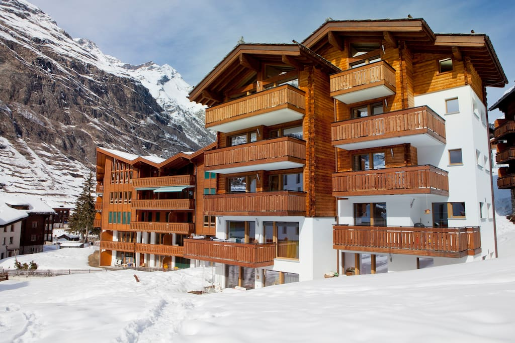 Our building viewed from path across our field.  The Chez Nous apartments all face The Matterhorn and have gorgeous views