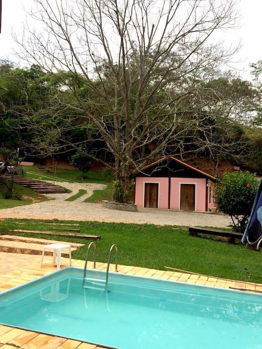 vista da piscina / nós pecan e casa / salao de jogos