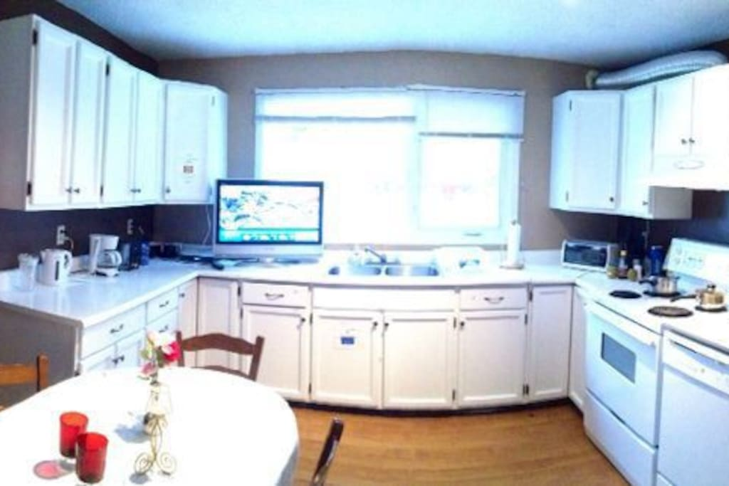Well equipped guest kitchen