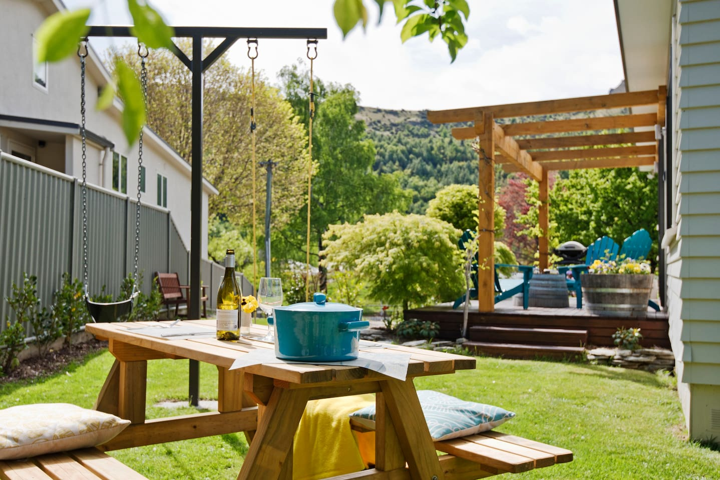 Enjoy a bbq out in the fenced  garden. The gate can be closed providing a safe place for your children to play with adult supervision of course.  A swing set is in the garden for little ones to use.