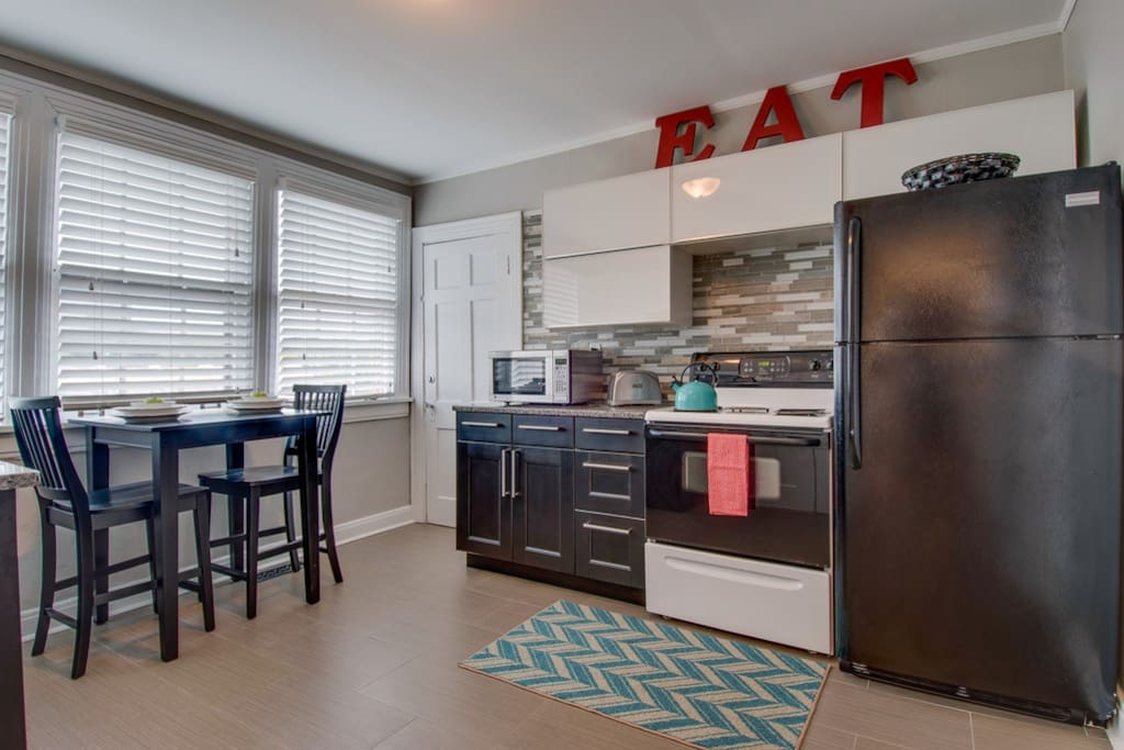 Beautiful, eat-in kitchen with all you need for a short stay or extended visit!