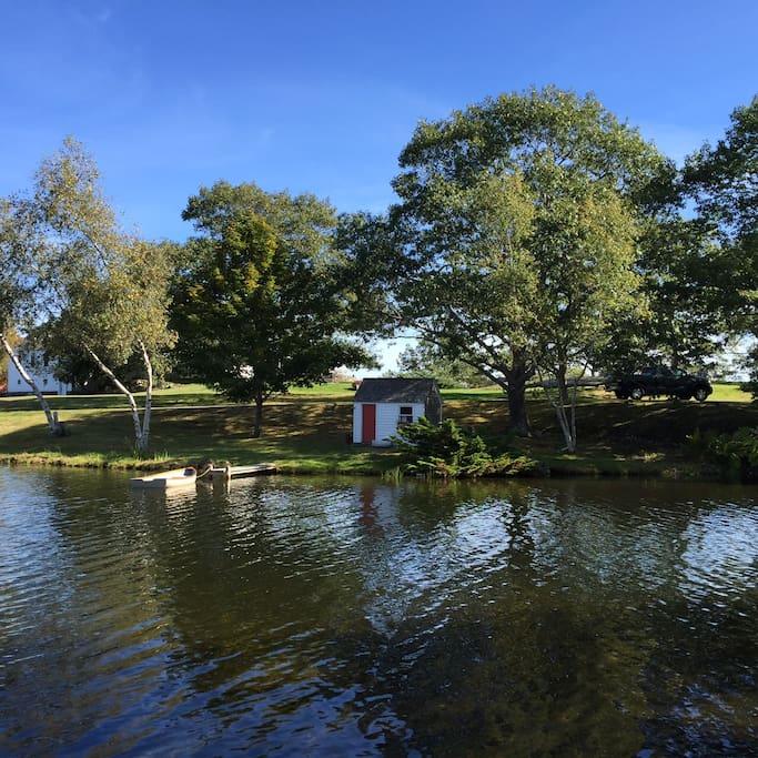 Lake dock and playhouse
