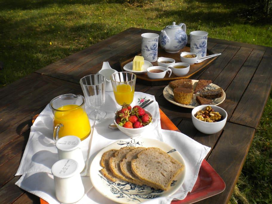 """Nous travaillons en bio et sommes certifiés depuis 1991, nous vous proposons donc un petit déjeuner entièrement bio (chocolat, thé, café), (jus de fruits, gâteaux bio"""" maison """", fruits de saison, fruits secs, yaourts, confitures, miel, de producteurs locaux certifiés en bio...) . Nous pouvons à la demande  réaliser un petit déjeuner sans gluten. Vous pourrez déjeuner à l'intérieur, sur votre terrasse ou dans le jardin."""