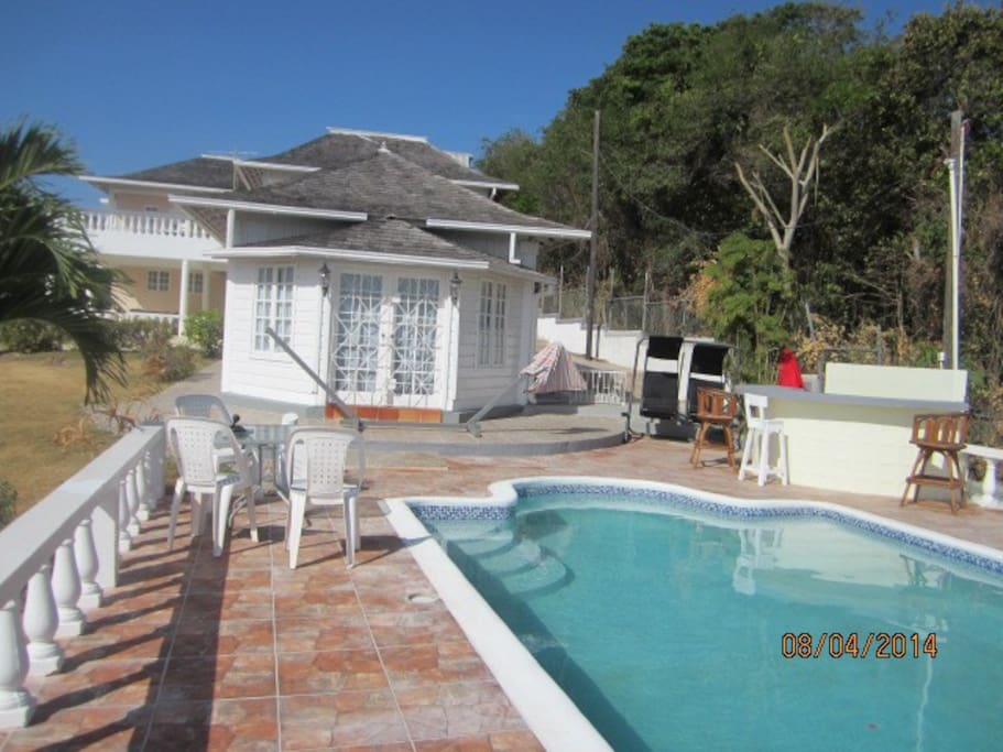 View from pool to house